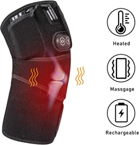 Heated Knee Massage Wrap, Vibration Foot Heating Pad Rechargeable Wireless Battery Infrared Knee Compression Support Brace Hot Cold Therapy for Leg Massager Joint Pain, Arthritis Meniscus Pain Relief