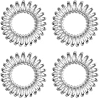 Hoyols Hair Coils Original Ties Spiral Traceless Creaseless Phone Cord Hair Ring 4 Pack (Transparent Clear)