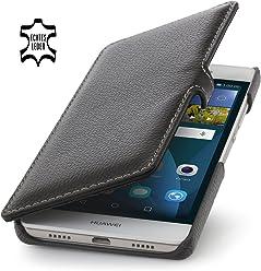 StilGut Book Type avec Clip, Housse Huawei P8 Lite en Cuir, Noir