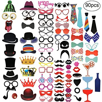 OleOletOy 90Pcs Funny Photo Booth Props - Complete Set with Sticks,  Glasses, Mustaches for Birthday, Engagement, Hen Party, Wedding - Reusable  Selfie