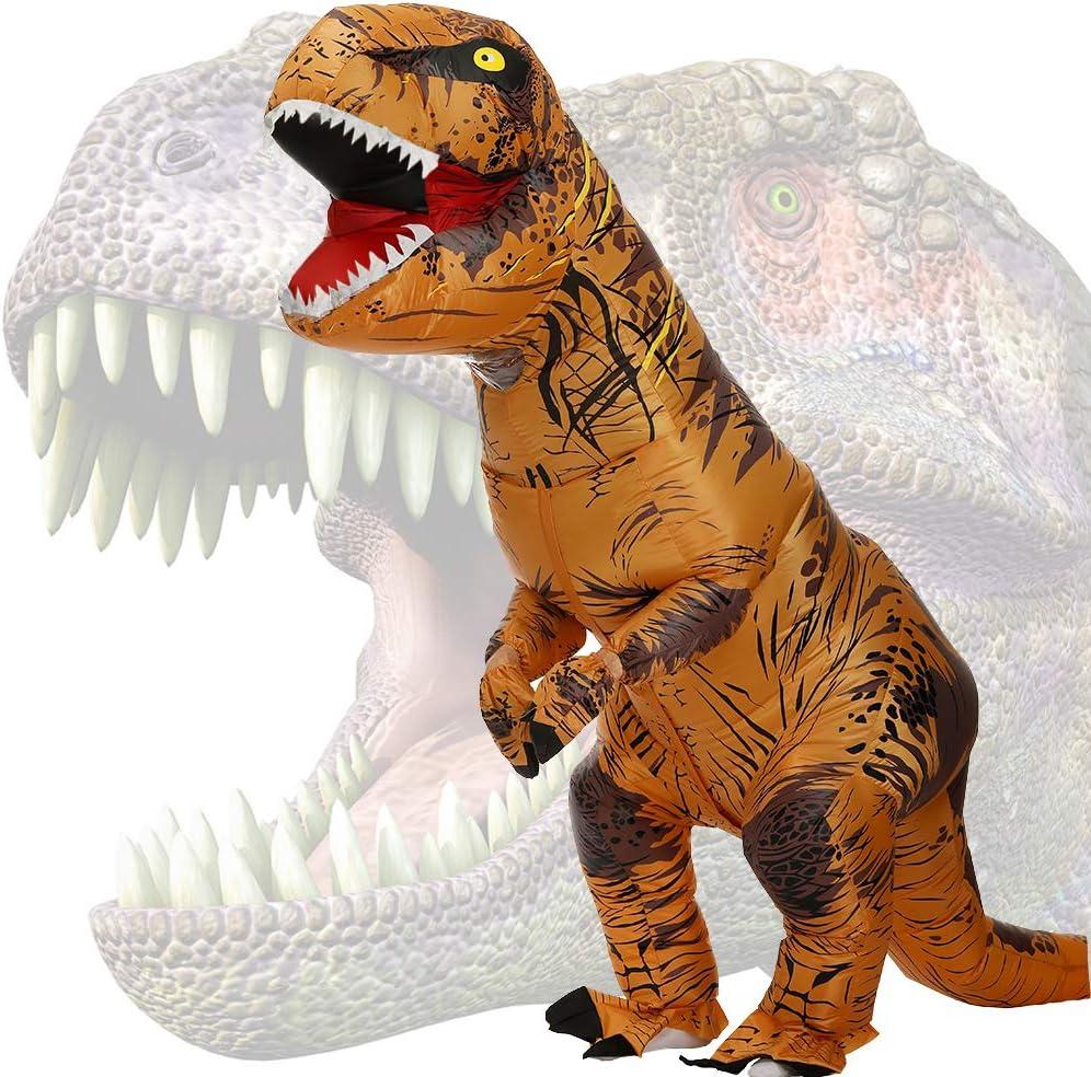 JASHKE Disfraz Dinosaurio Inflable Adulto Traje Dinosaurio Disfraz Trex Disfraces Hombre Divertidas Traje