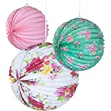 Talking Tables Truly Scrumptious Floral Paper Lanterns, Multicolour (3 pack) for a Birthday, Tea Party or Party Decoration