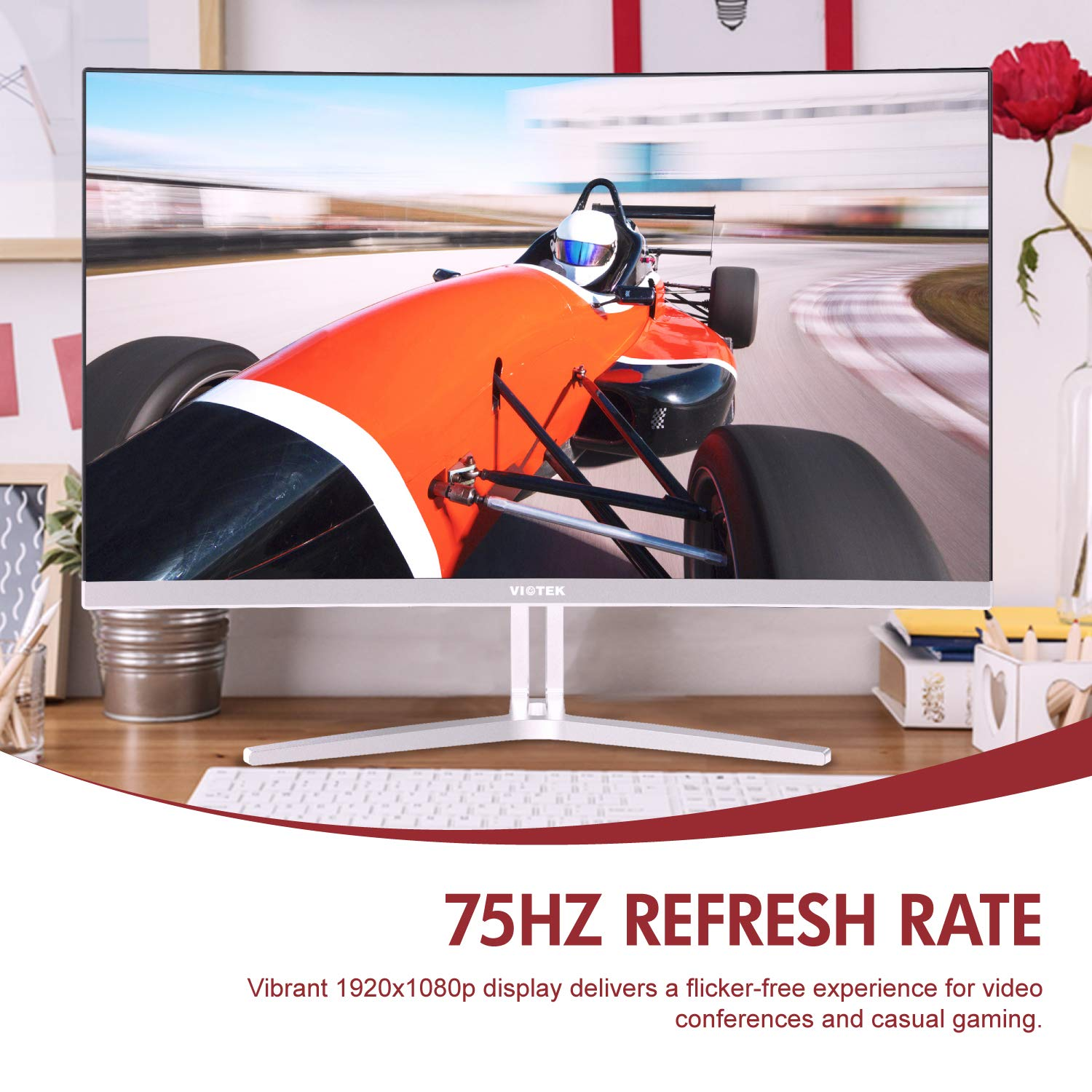 VIOTEK NB24CW 24-Inch LED Curved Monitor with Speakers Bezel-Less Display 1080P