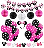 KREATWOW Minnie Mouse Girls Birthday Party Decor, Minnie Mouse Headband, Happy Birthday Banner, Black Rose Red Balloons