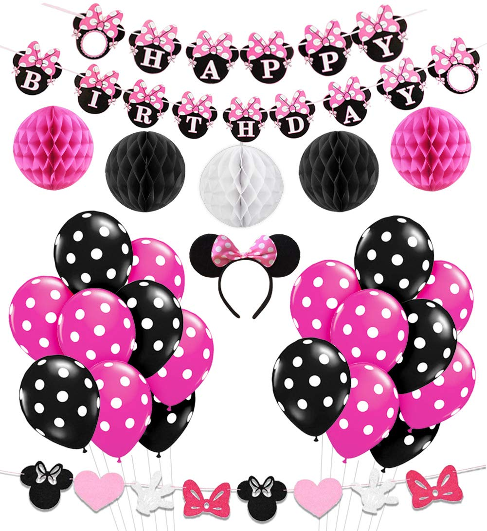Amazon Minnie Mouse Party Decorations Supplies Pink Ears Birthday Banner Garland For Girls 1st 2nd Home Kitchen
