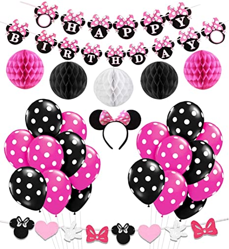 Kreatwow Decoracion De La Fiesta De Cumpleanos De Minnie Mouse Girls