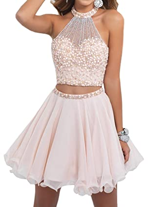 Miao Duo Short Two Piece Prom Dresses Crystals Bodice Cocktail Homecoming Dress