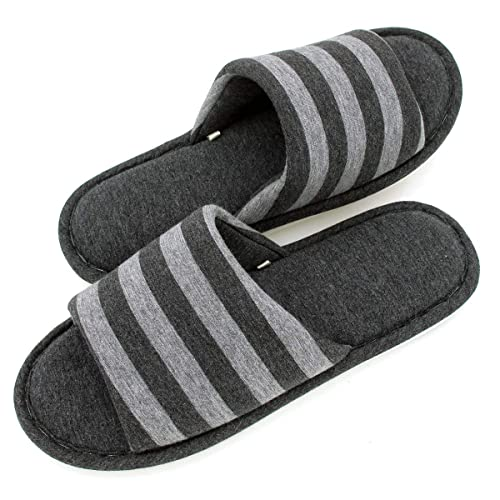 29e234da1d66 Sunshine Code Women s Memory Foam Cotton Washable Stripe Slippers for  Travel House Hotel Spa Bedroom