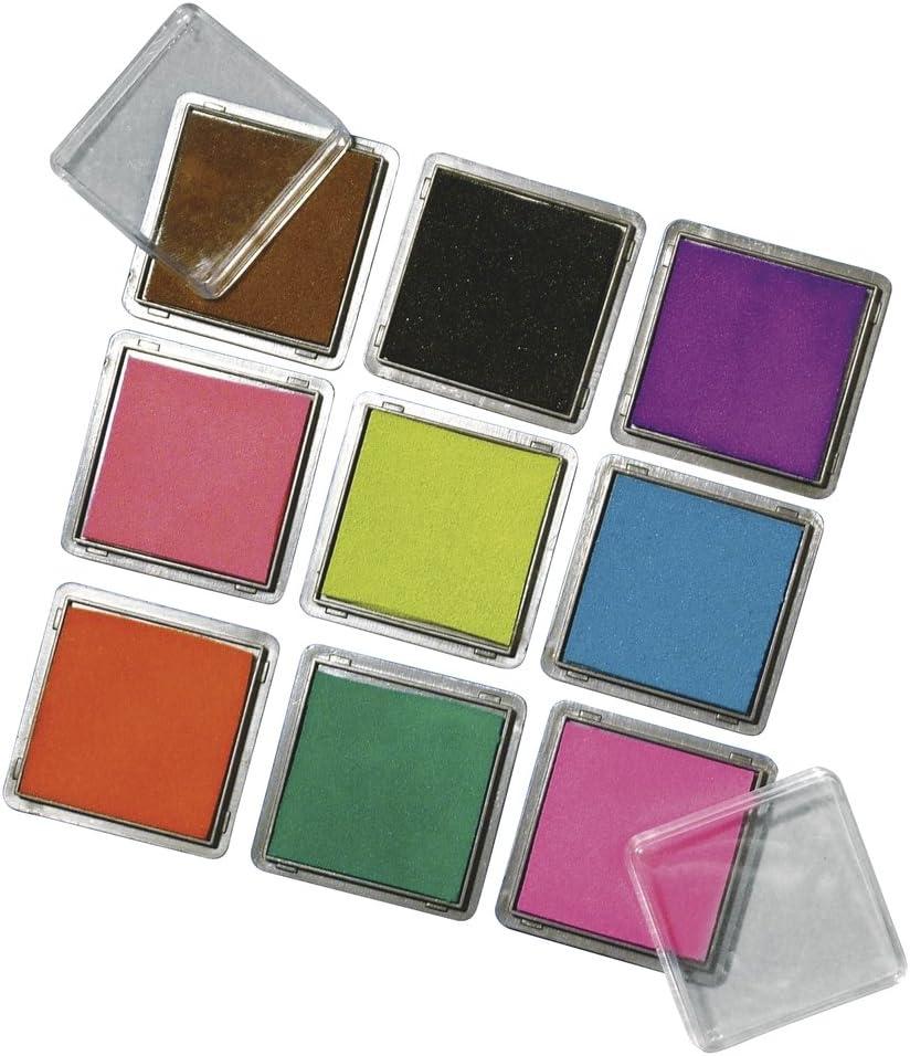je 3,5 x 3,5 cm RAYHER Stempelkissen Set mit 9 Farben