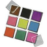 Rayher Hobby 7854149  Scrapbooking Stempelkissen Set, 3,5 x 3,5 cm, 9 farben, gemischt