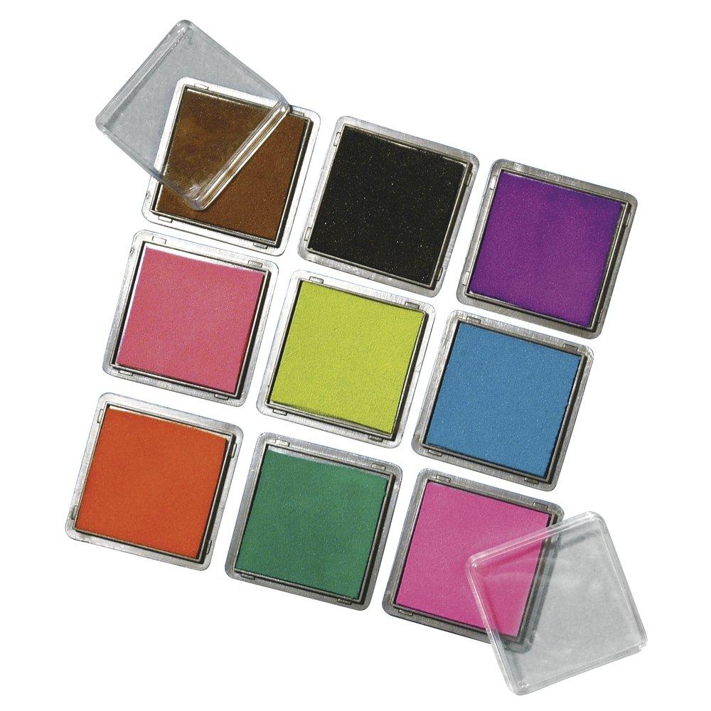 Rayher Stempelkissen Set mit 9 Farben, je 3,5 x 3,5 cm Rayher Hobby 7854149