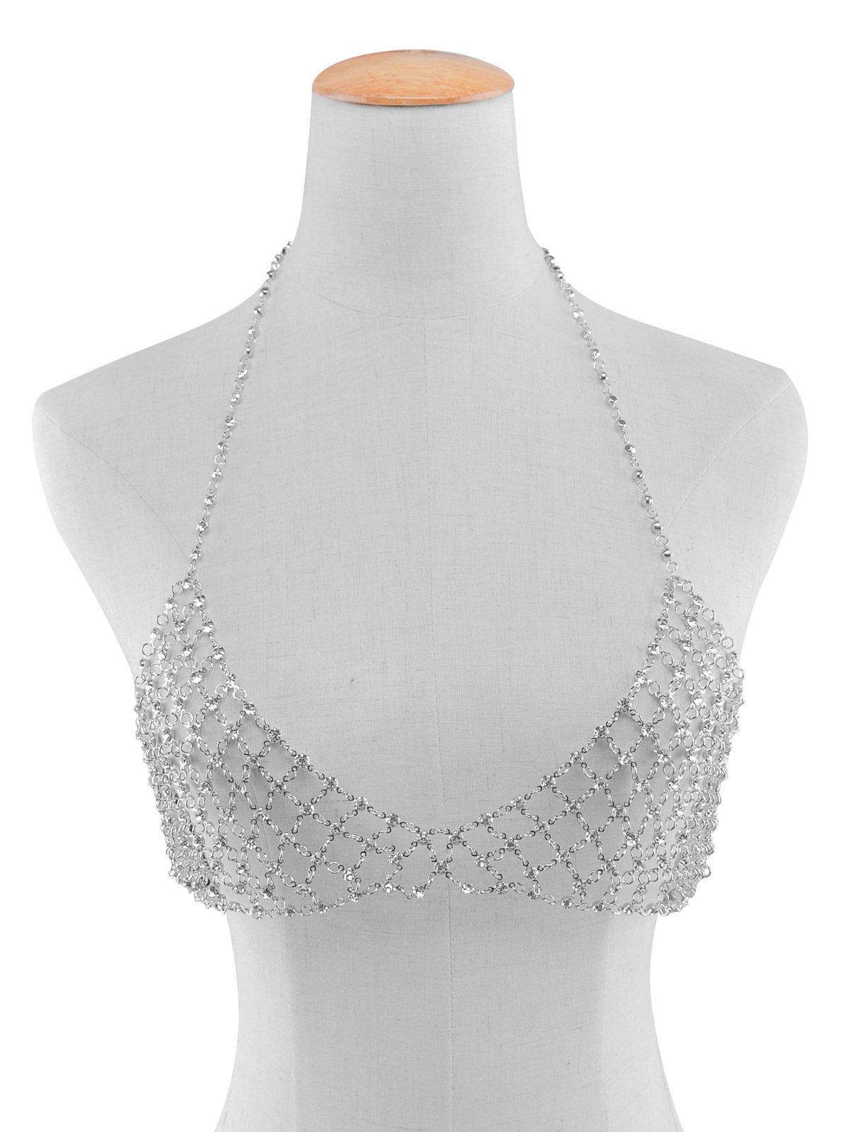 ANGELANGELA Luxury Sexy Gold Silver Tone Clear Rhinestone Diamond Charm Bikini Bra Filigree Netted Chest Belly Tassel Chains Crossover Harness Necklace Body Jewelry (Silver)