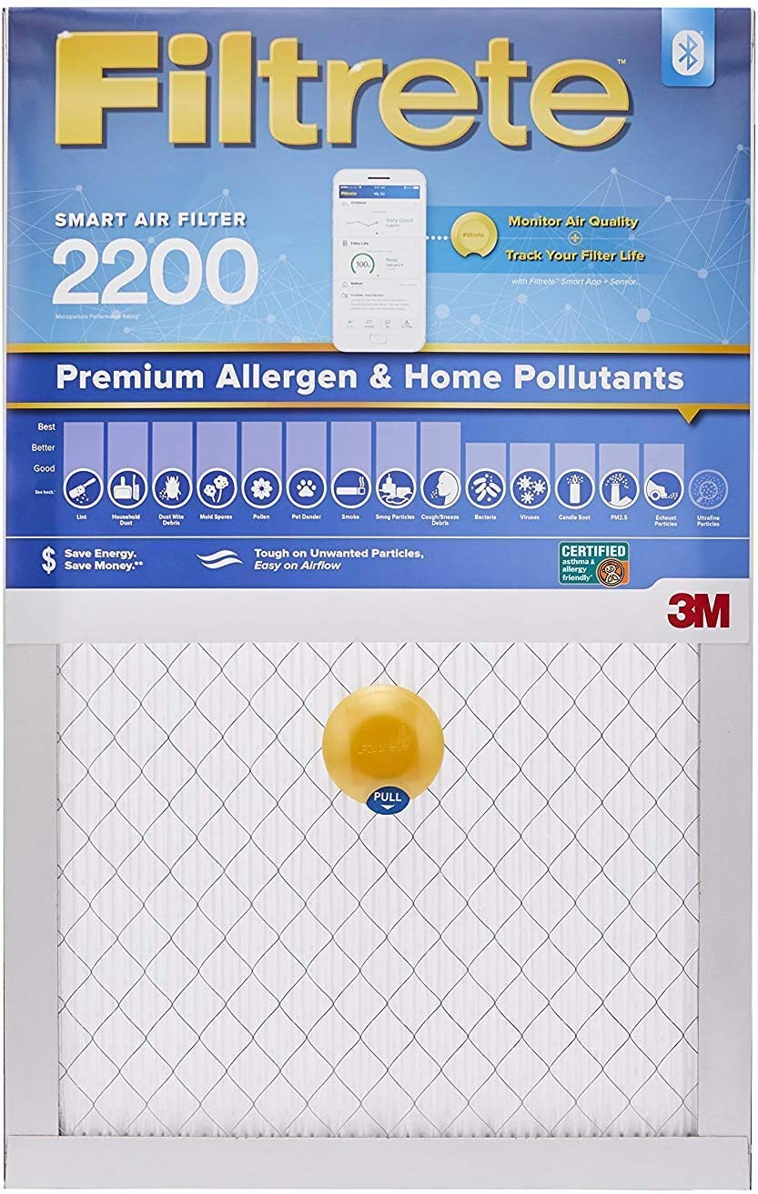 Filtrete 16x20x1 Smart Air Filter, MPR 2200, Premium Allergen & Home Pollutants AC Furnace Air Filter, 2-Pack - S-EA00-2PK-6E