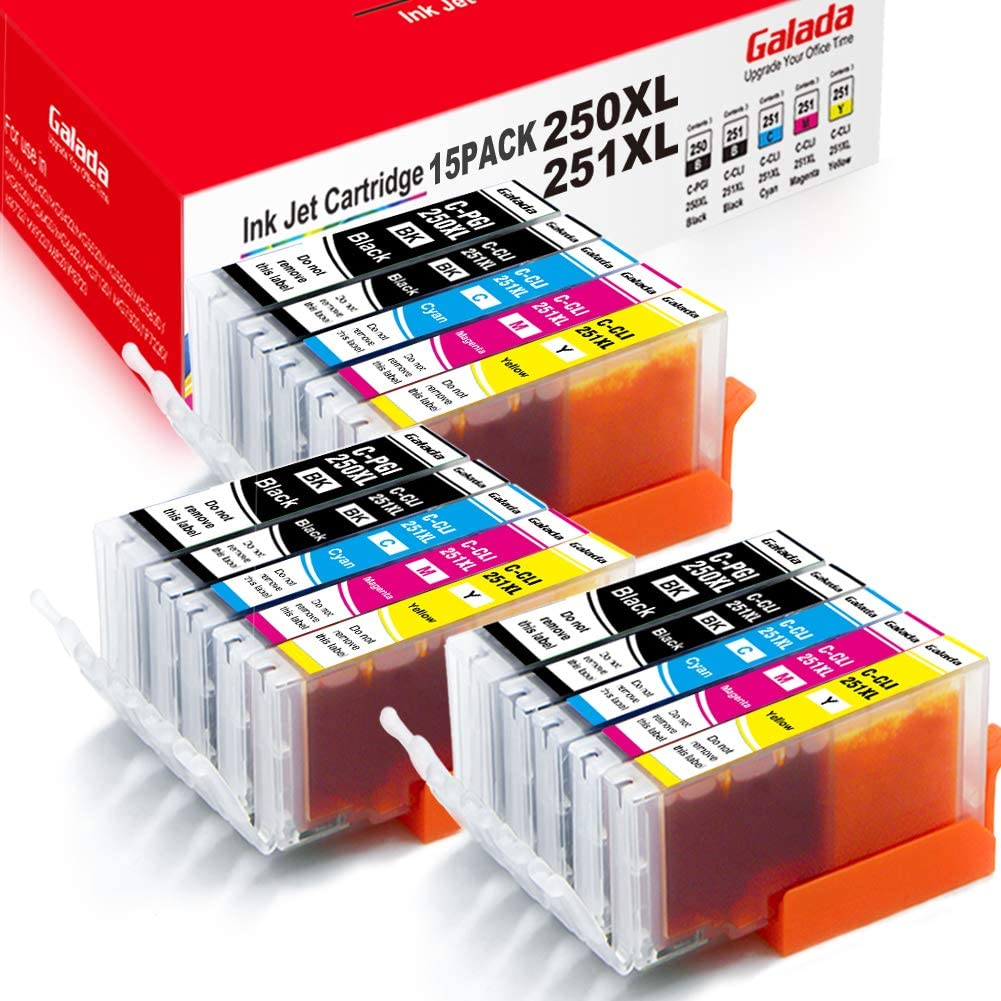 Galada Compatible Ink Cartridges Replacement for Canon Pgi-250xl Cli-251xl 250 251 XL for Pixma MX922 MX920 MX722 IP7220 IP8720 IX6820 MG5420 MG5422 MG5520 MG5522 MG5620 MG6320 Printer 15PACK