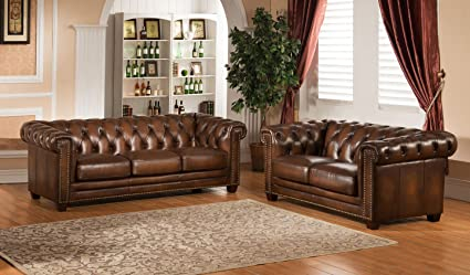 Attirant Amax Leather Stanley Park II 100% Leather Sofa And Loveseat, Brown