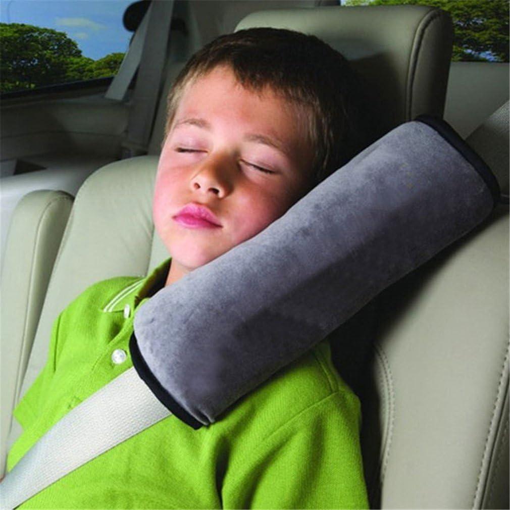 JUNGEN Almohada Bebe Almohadilla Cinturon Seguridad Coche Almohada Cinturón de Seguridad Hombro Almohadillas Proteger Cabeza de Hombro Cojín de Protección para Niños Dormir (Gris)