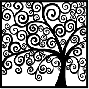 Metal Tree Wall Art Black Tree of Life Wall Decor for Home Office Living Room Decor Abstract Tree Wall Sculpture Rustic Decorations 24x24inch