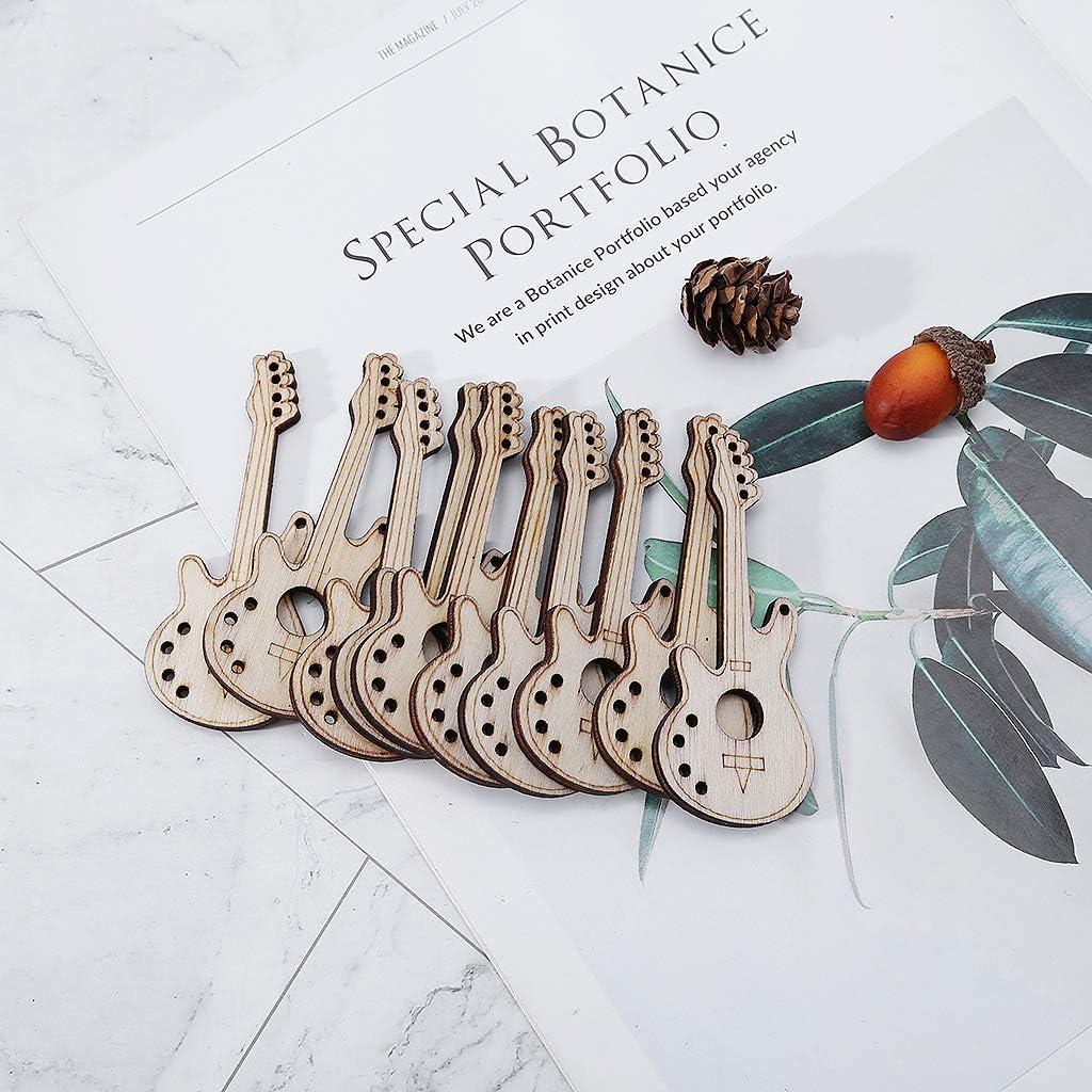 Yuanhaourty 10pcs Wood Cut Guitar Shape Scrapbooking Embellishment Wooden Craft Wedding Decor