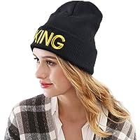 Fascigirl Beanie Delicate KÖNIG und Königin Mode Brief Stickerei Paar Gestrickte Warme Mütze
