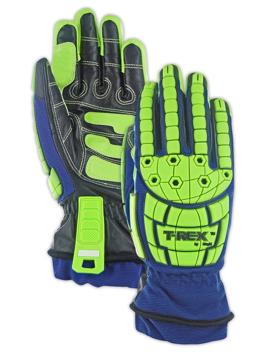 Magid Insulated Winter Work Gloves   Leather Coated Cut Resistant Impact Safety Gloves with Thermal Liner & Waterproof Membrane - Blue/Green, Size XL (1 Pair) by Magid Glove & Safety (Image #4)