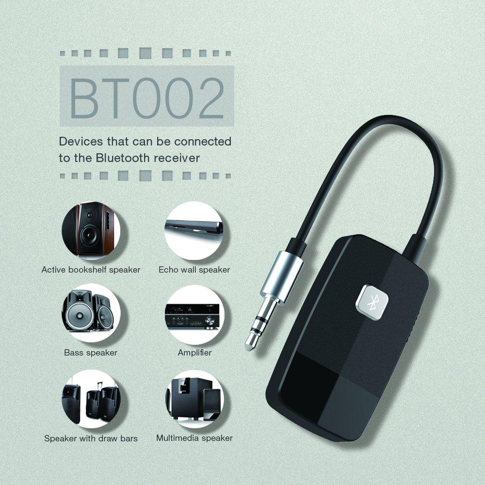 black 17 Tagen Standby-Zeit Milool Bluetooth Empf/änger Adapter Tragbare Bluetooth 4.1 Receiver Wireless Adapter Audioger/äte f/ür Heim Auto Lautsprechersystem und Handy mit Stereo 3.5 mm Aux