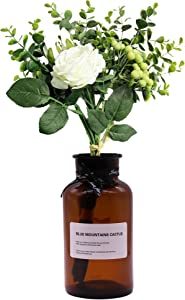 MISBEST Artificial Flower with Vase, Ins Style Silk Rose with Eucalyptus Leaves and Berries Bouquet Centerpieces Arrangements for Home Wedding Party Decor… (White)