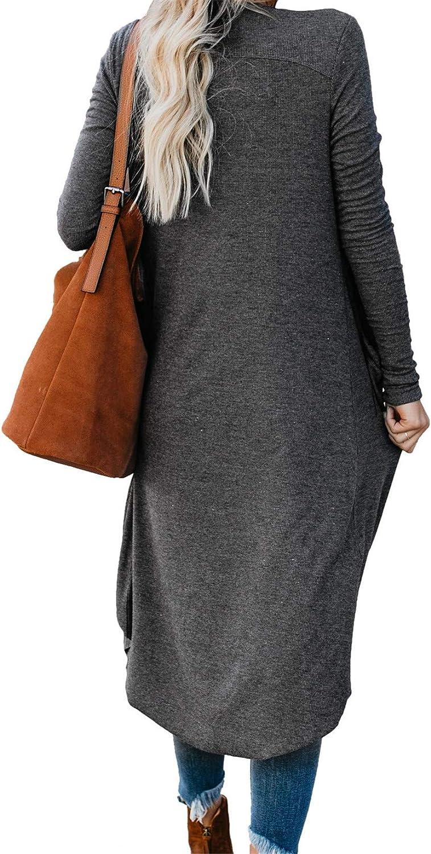 Cyiozlir Gilet Femme Long Cardigan Ouvert avec Bouton Manches Longues Tricot Veste Irr/égulier Outwear avec Poches