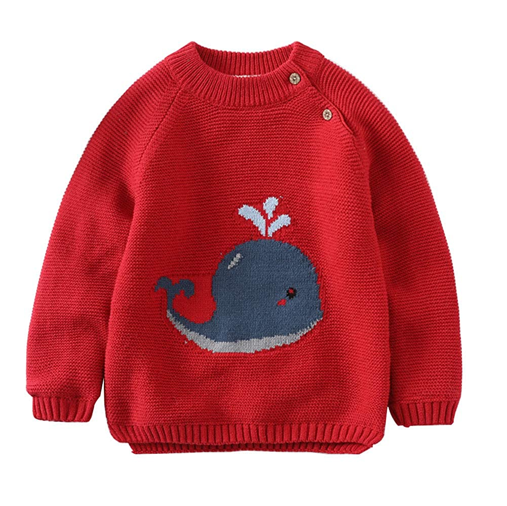 JGJSTAR Baby Toddler Girls Knit Sweater Cotton Long Sleeve Lined Sweatershirt Pullover Tops