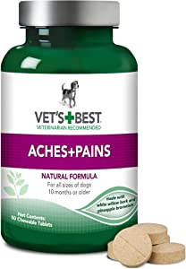 Vet's Best Aspirin Free Aches + Pains Dog Supplement | Vet Formulated for Dog Pain Support and Joint Relief