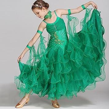b255c41d0 Ballroom Dance Dresses For Kids Performance Costume Sleeveless Children's Waltz  Dancing Outfit Great Swing Standard Dance Skirt: Amazon.co.uk: Sports & ...