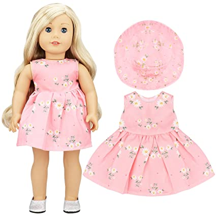 Amazon.com  ANNTOY 18 Inch Doll Clothes Pink Summer Dress and Hat ... 00bf75c7c0c