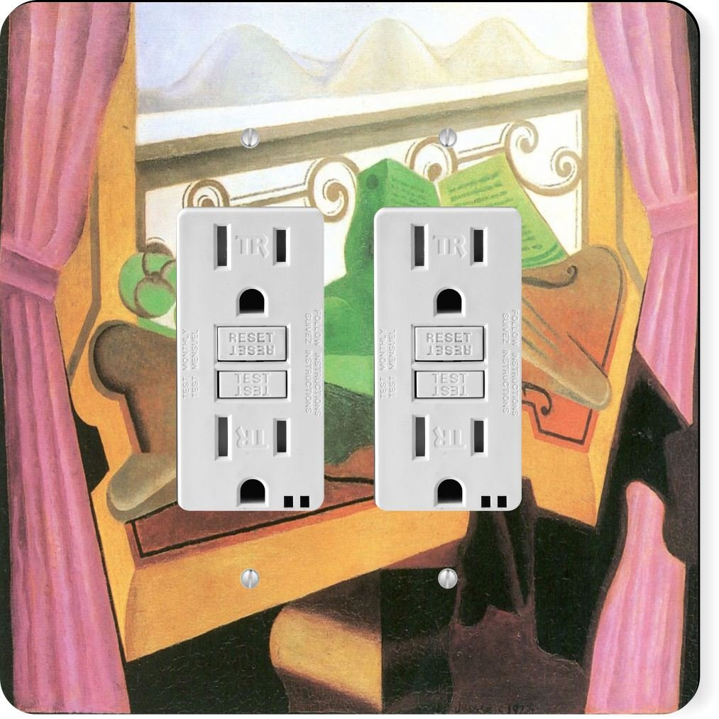 Rikki Knight 2929 Gfidouble Juan Gris Art Open Windows with Hills Design Light Switch Plate