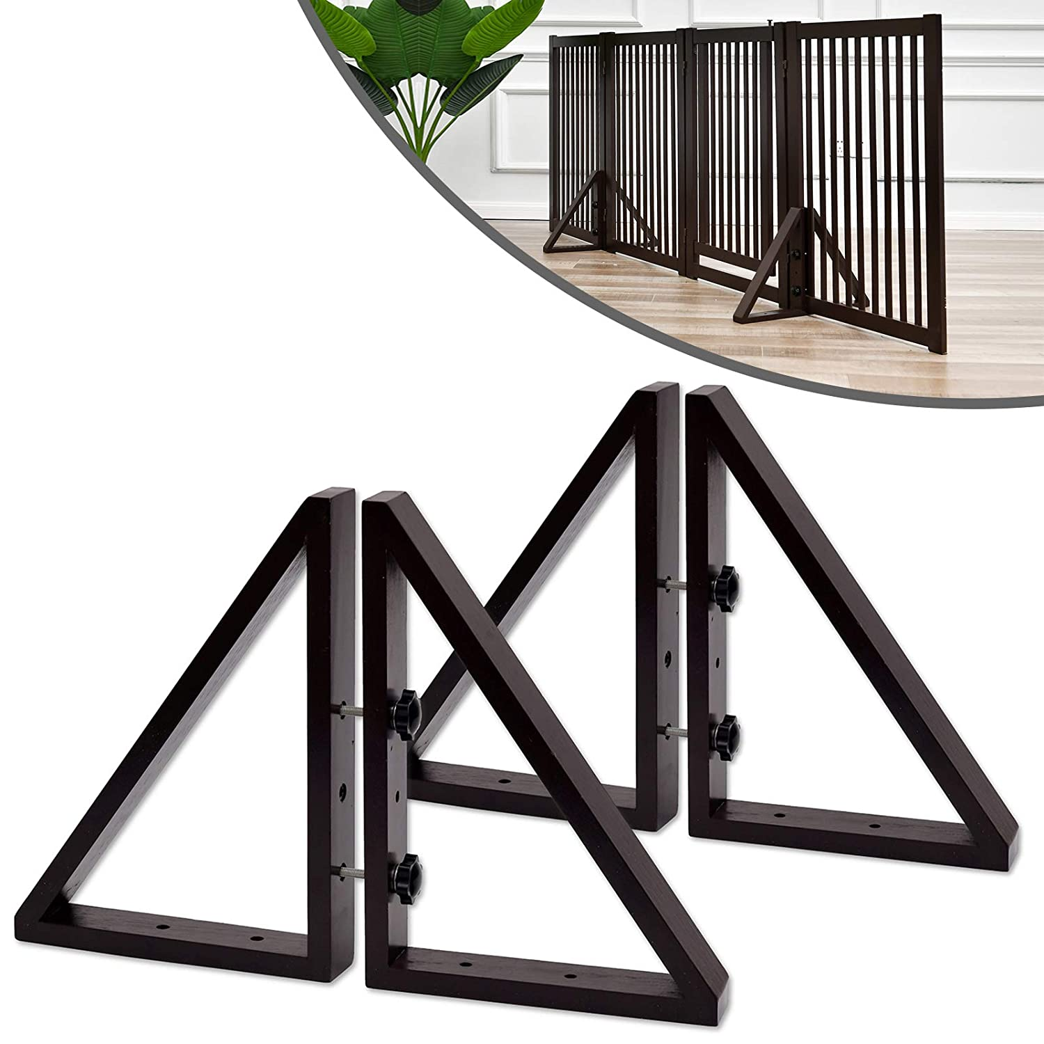 WELLAND Triangle Support Feet Set of 2 for 360 Degree Configurable Gate Collection, Solid Pine Wood, Easy to Install, 2 Pairs of Safety Fence Feet for Freestanding Pet Gates, Espresso