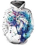 NAYINLAN Women Rainbow Unicorn Print Pullover Outdoor Hoodie Sweatshirt