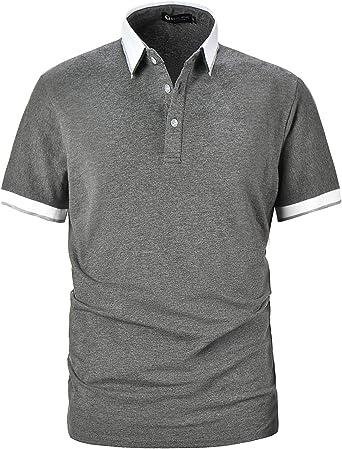 STTLZMC Casual Hombre Polo Manga Corta Contraste Cuello Camisetas ...