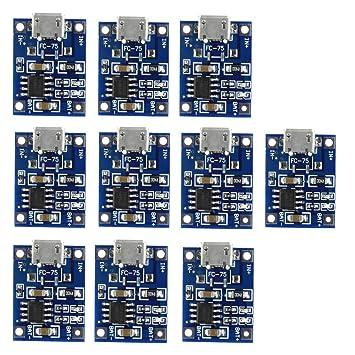 REYOK Módulo de Carga,10 pcs Micro USB 5V 1A TP4056 Batería de Litio Módulo del Cargador Cargador Tablero