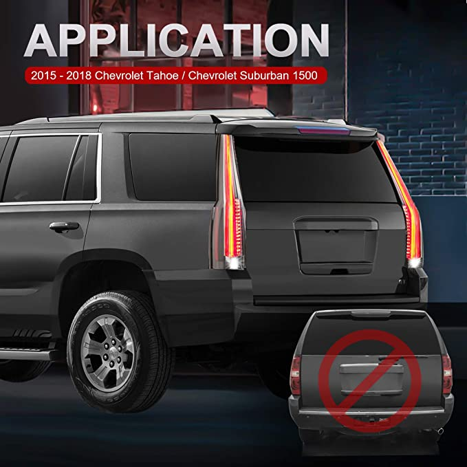 2015-2016 2017 CHEVY TAHOE Tail Lamp//Light Rear Back Light Chrome Cover Fit