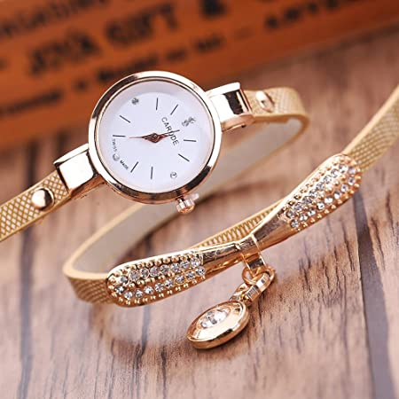 Amazon.com: LtrottedJ Women Leather Rhinestone Analog Quartz Wrist Watches (Beige): Health & Personal Care