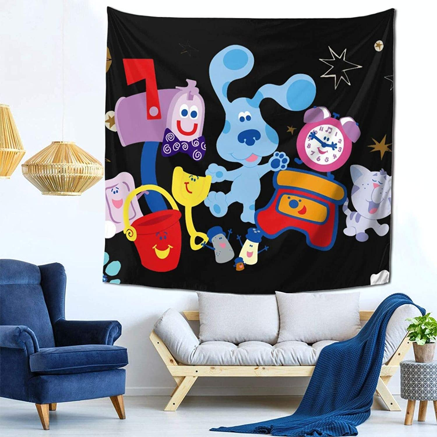 Cute Dog Bl-Ue'S Cl-Ues Tapestry Wall Hanging Wall Art Hippie Tapestry Boho Room Decor 59 X 59 Inch