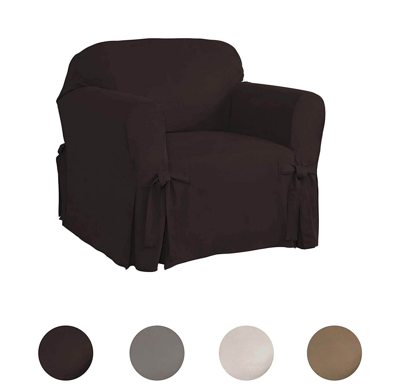038533834052 Relaxed Fit Smooth Suede Furniture Slipcover for Chair Chocolate Serta