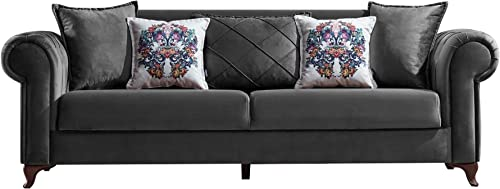 Casa Mare 3 Seater Charcoal Modern Sofa Couch