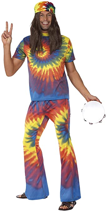 60s -70s  Men's Costumes : Hippie, Disco, Beatles Smiffys Mens 1960s Tie Dye Top and Flared Trousers Multi $69.20 AT vintagedancer.com