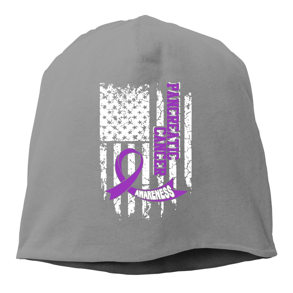 TLPM9LKMBM USA Flag Pancreatic Cancer Awareness Beanie Skull Cap for Women and Men Winter Warm Knit Hat