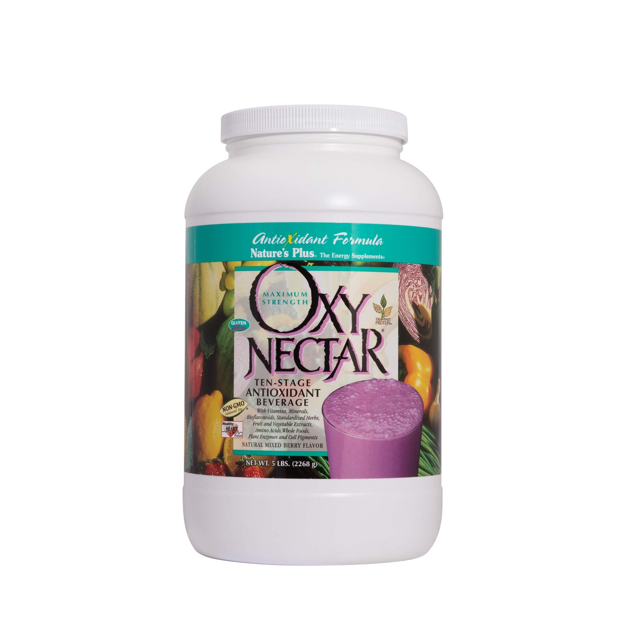 Natures Plus Oxy Nectar - 5 lbs Drink Powder, Natural Mixed Berry Flavor - 10 Stage Antioxidant Beverage Powder with Protein - Vegetarian, Gluten Free - 68 Servings