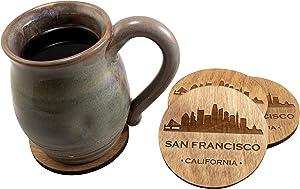 San Francisco California CA Souvenir 4 Piece Coaster New Home Decor Gift Set, Golden Finish