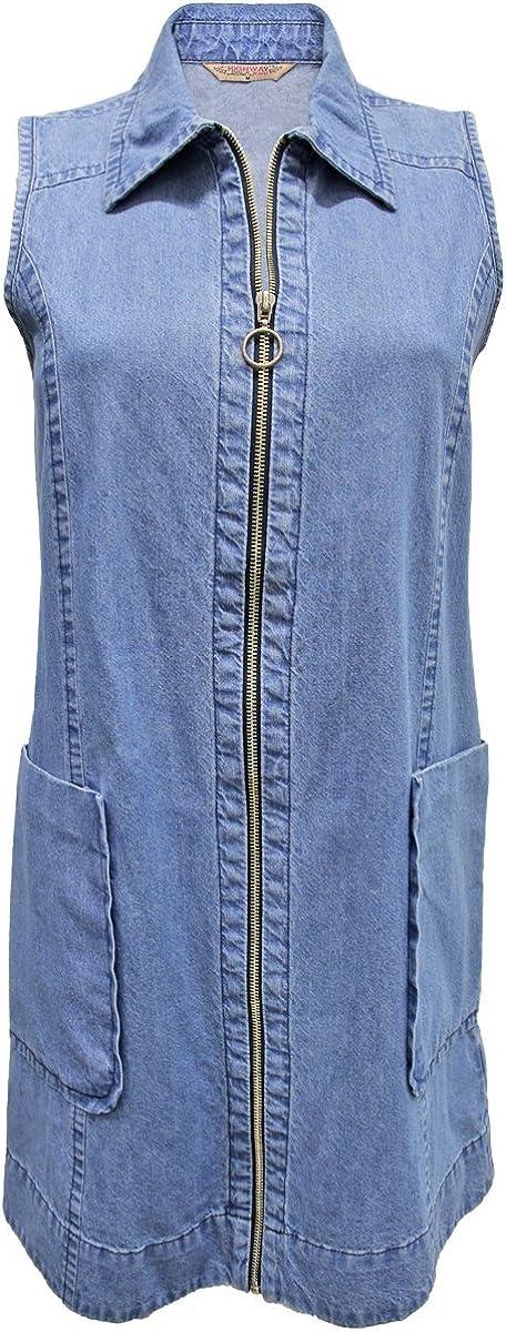 New Look US Zip Front Denim Pocket Dress