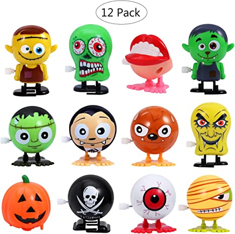 Amosfun Halloween Jumping Wind up Toys Party Supplies Toy Assortment Mini Toy for Children 12PCS