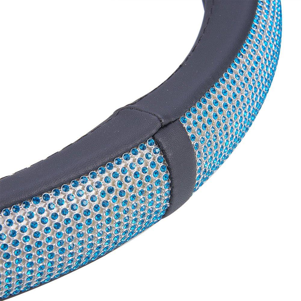 Blueshyhall Funda para Volante Cristal Antideslizante Brillantes Suave 38 cm