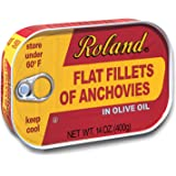 Roland Foods Flat Anchovy Fillets Packed in Olive Oil, Wild Caught from Morocco, 14 OZ Can
