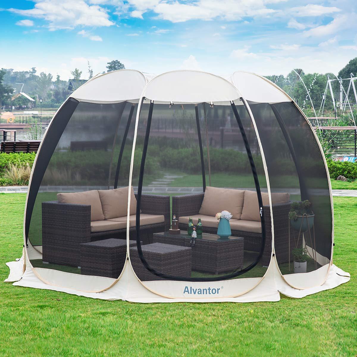 Alvantor Screen House Room Camping Tent Outdoor Canopy Dining Gazebo Pop Up Sun Shade Shelter 8 Mesh Walls Not Waterproof Ecru 12'x12'x7.5' Patent by Alvantor